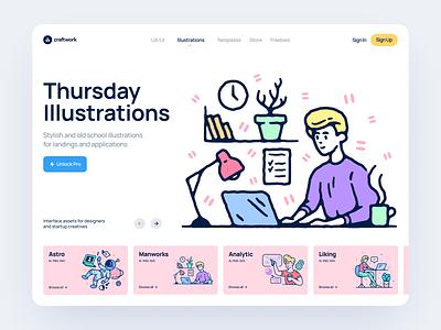 Thursday Illustrations 💻 thursday design ui illustrations illustration svg website craftwork landing vector web