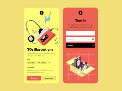 '90s illustrations ⚡️ 📼 music nostalgia era 90s signin ux ui design illustrations illustration app application craftwork vector web