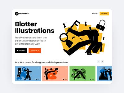 Blotter illustrations craftwork blotter web product vector colorfull juicy bright flat app presentation characters illustrations uxui ux ui design