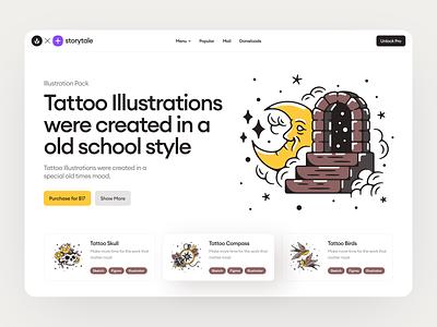 Tattoo Illustrations🌛 webdesign solid sketch figma ai illustrator flat style oldschool colorful illustrations illustration app application website landing craftwork vector web tattoo