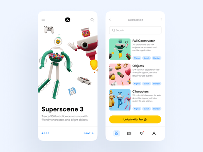 Superscene 3D Constructor 🥰 app design application app contrast volumetric colorful bright product characters objects it robots conatructor 3d uxui ux ui illustration illustrations craftwork
