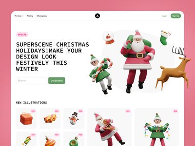 Superscene Christmas Update 🥳 new winter season holidays presents elf santa update christmas superscene 3d design colorful ui illustrations application website landing craftwork web