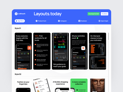 Layouts.today ✨ product app store ph instagram facebook presentation ux ui design website craftwork web