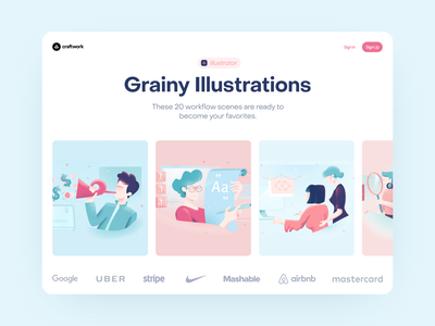Grainy Illustrations 🌿 grainy noisy friendly business ai illustrations flat app teamwork workflow colorful ui design illustration application website landing vector craftwork web