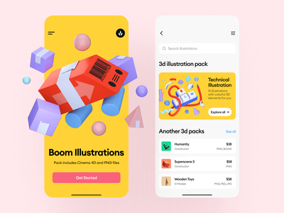 Boom Illustrations 💛 bright colors contrast yellow boom 3d colorful ui design illustrations app application craftwork