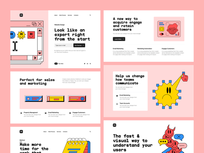 Fatal Error + Method 4 = ❤️ product page mix colors contrast bright pink fatal error error method design landing illustrations website vector craftwork web