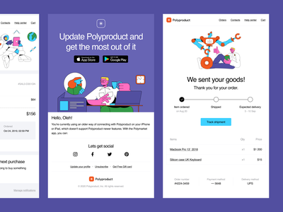 Polybox HTML Templates + Canny Illustrations = 💜 email polybox html templates canny colorful ui design illustrations website landing vector craftwork web