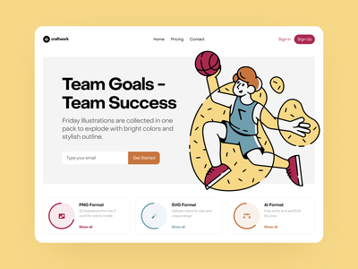 Friday Illustrations ✌️ typogaphy team basketball friday sport outline colorful ui design illustrations website landing vector craftwork web