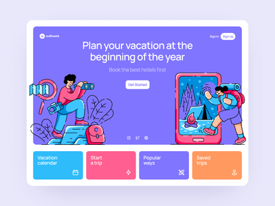 Vacation Illustrations 🗺 colorful ui design illustrations website landing vector craftwork web
