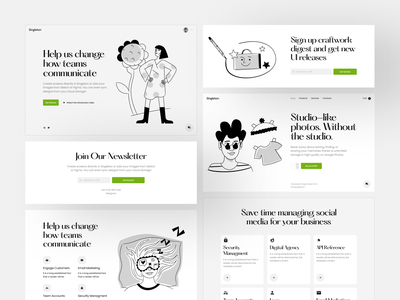 Singleton UI Kit + Nankin Illustrations = 🖤 product collaboration bestseller singleton nankin black  white ui design illustrations website landing vector craftwork web