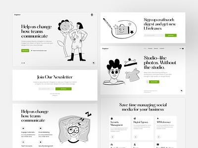 Singleton UI Kit + Nankin Illustrations = 🖤 product collaboration bestseller singleton nankin black  white ui design illustrations website landing vector craftwork web