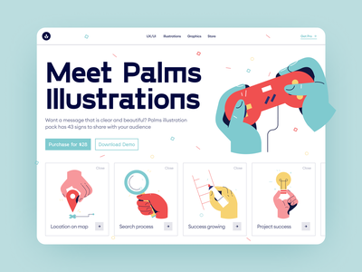 Palms illustrations 🎮 product freebie free signs palms colorful illustration ui design application website landing vector craftwork web