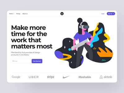 Stubborn Illustrations 🔥 typography bold product workflow business startup virtual vr constructor stubborn colorful illustration ui design illustrations website landing vector craftwork web