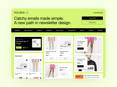Polybox Templates 🌿 newsletter brutalism email templates polybox app ui design illustrations application website landing vector craftwork web