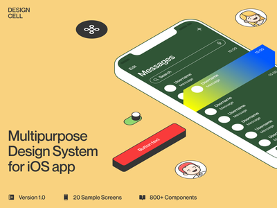 NEW: Design Cell iOS app design system 🚀 symbols components ios design system colorful illustration app ui design application craftwork