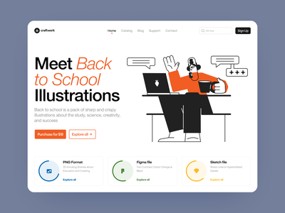 Back to school illustrations 🎓 study education work workflow school colorful illustration app ui design illustrations landing website vector craftwork web