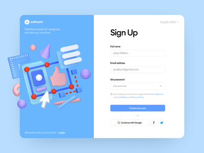 Boom Illustrations 👍 abstract object colorful blue product boom signup 3d app ui design illustrations craftwork web