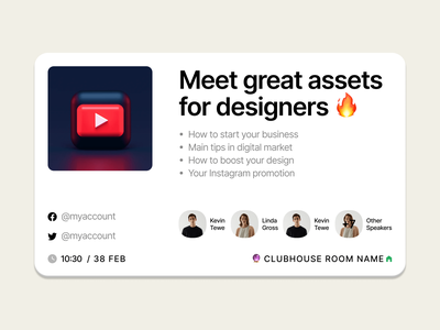 Meet free Clubhouse cards for socials 🔥 trend freebie free announcement invite instagram telegram twitter cards slides presentation meetup socials clubhouse product app ui design craftwork