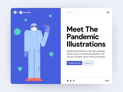 Pandemic Illustrations 🦠 virus medicine pandemic colorful illustrations design ui application website landing vector web craftwork