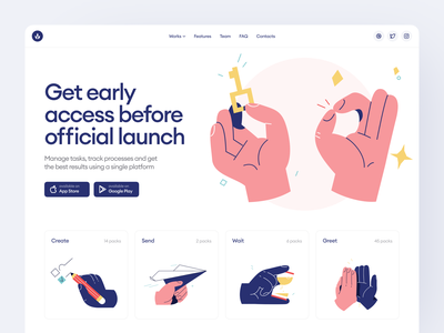 Palms illustrations 👌 product hands palms colorful illustrations design ui application website landing vector web craftwork