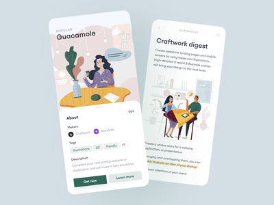 Guacamole illustrations 🥑 product characters fun family home scenes lifestyle guacamole colorful illustrations design ui application app website landing vector craftwork