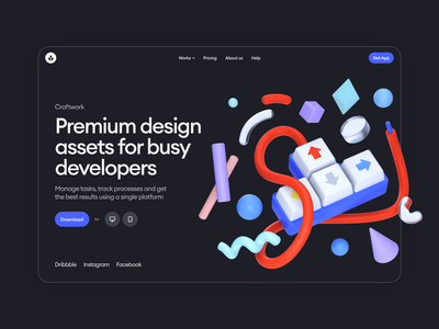 Boom illustrations 💥 interface assets objects product boom volumetric 3d colorful app illustrations design ui application website landing web craftwork