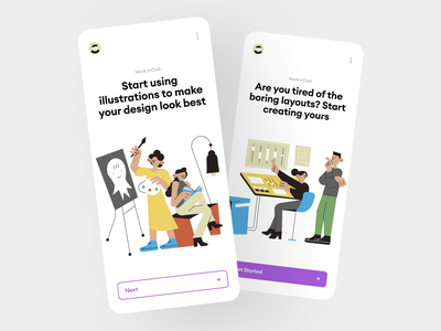 Work'n'Chill illustrations 🎨 settings art chill work product colorful interface app illustrations design ui application vector craftwork