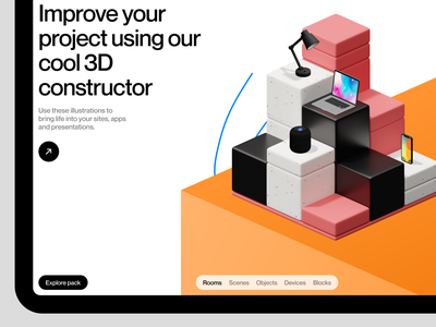 Isometrica 3D Constructor 🧱 isometric constructor illustration branding 3d ui design application website landing web craftwork