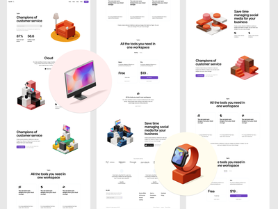Isometrica 3D constructor launch 💛 release isometric 3d illustration design ui application website landing web craftwork