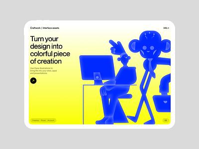Work'n'Chill illustrations 💙 contrast worknchill illustration design ui application website landing vector web craftwork