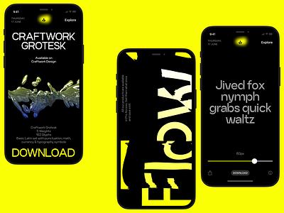 Craftwork Grotesk 💥 new product futurism grotesk app design dark uxui typeface typography font design ui application website landing web craftwork