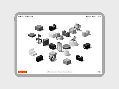 Isometrica 3D constructor 🖤 constructor isometric 3d illustration design application ui landing website web craftwork