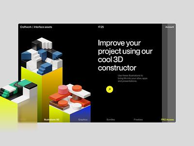 Isometrica 3D Constructor 💛 isometric constructor volumetric 3d illustration design ui application website landing web craftwork