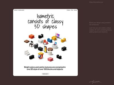 Isometrica 3D Constructor 🔥 constructor isometric 3d illustration design ui application website landing web craftwork