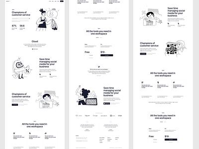 Nankin Illustrations 🖤 monochrome outline handdrawn sketches nankin illustration ui design application website landing vector web craftwork