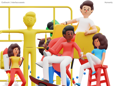 Humanity illustrations 🌈 characters clay humanity 3d illustration design ui application website landing web craftwork