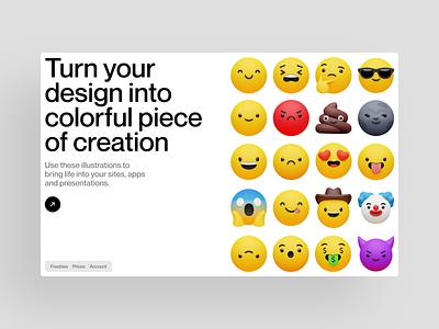 3D Emoji by Craftwork 😍 product volumetric emoji 3d illustration ui design application website landing web craftwork