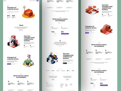 Isometrica 3D Constructor 🧱 3d blocks constructor isometrica illustrations illustration ui design application website landing web craftwork
