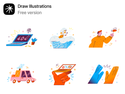 Free Draw illustrations 💥 handdrawn error 404 textures freebie free draw illustration design ui application website landing vector web craftwork