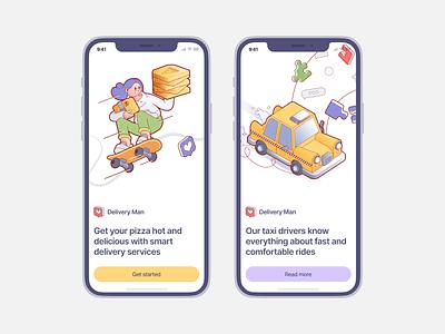 Delivery Man illustrations 🛴 scooter car taxi drive smart food services delivery illustration design ui application website landing vector web craftwork