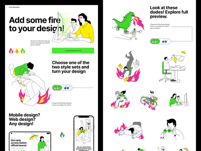 FREE On Fire illustrations 🔥 startup projects funny fire free illustration ui design application website landing vector web craftwork