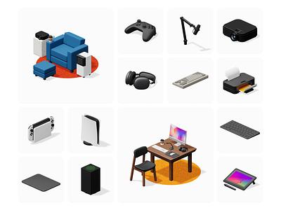 Isometrica 2.0 update 🔥 update constructor volumetric 3d illustrations illustration design ui application website landing web craftwork