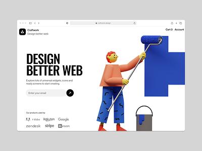 3DDD illustrations 🌿 create volumetric 3d illustration design ui application website landing web craftwork
