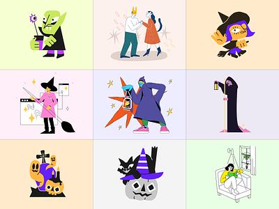 Free Halloween illustrations 🎃 mysterical creepy craftwork