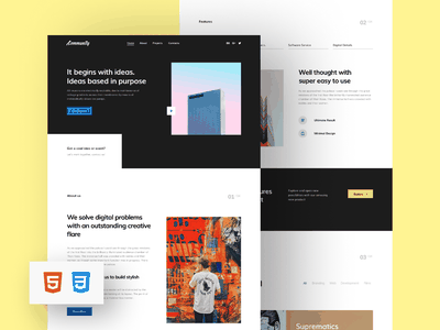 Community HTML Template responsive adaptive figma project contacts about home craftwork bootstrap web design web pages landing portfolio css html site template