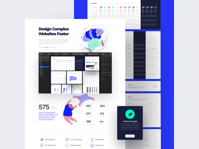 Landing Page for Symbol Design System 2 landing page mockups responsive fonts elements media craftwork ux interface adaptive symbols sketch library components landing web ui kit ui design system