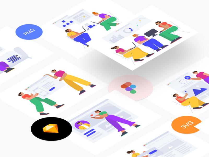 Introduce Smash - Free illustration constructor shopping education conversation chat work coworking infographics world scene it stylish modern colorful smash web svg freebie free