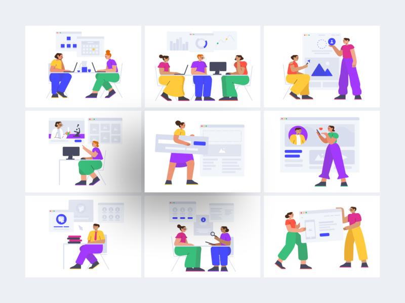 Smash Free Illustration Constructor shopping education conversation chat work coworking infographics world scene it stylish modern colorful smash web svg freebie free