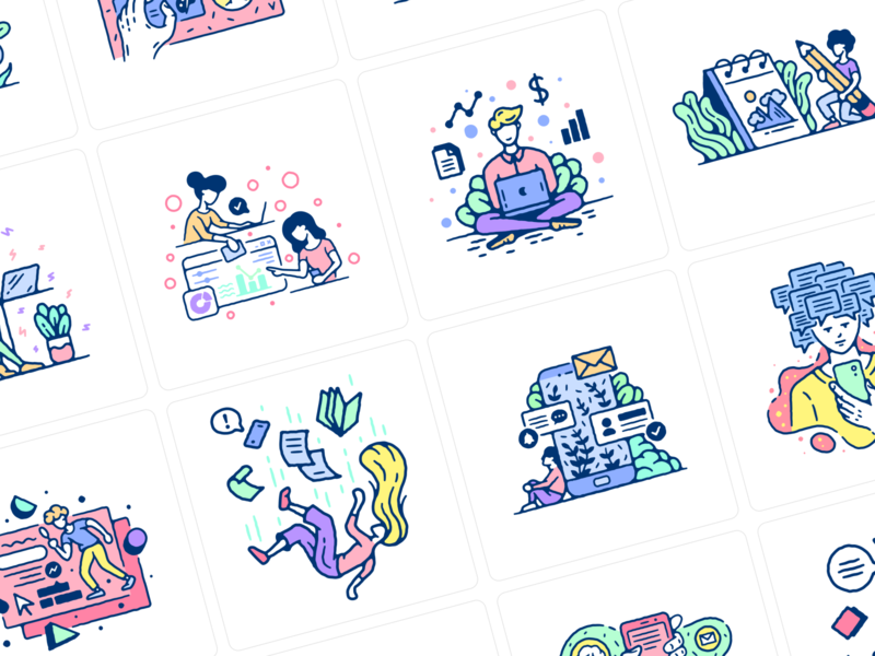 Meet Thursday Illustrations daily sport research study work design scene world detailed stylish old shool colorful web png ai svg