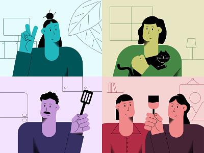 E-friendship france rennes love friendship friends flat drawing design containment quarantine zoom skype facetime cat brush shading illustrator illustration character